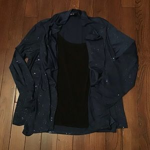 Navy blouse with black tank liner - 2X